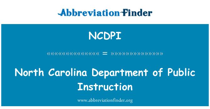 NCDPI: North Carolina Department of Public Instruction