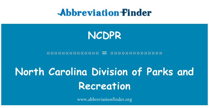 NCDPR: North Carolina Division of Parks and Recreation