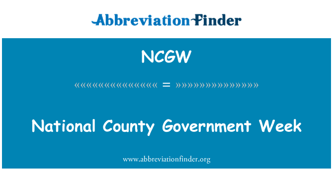 NCGW: National County Government Week