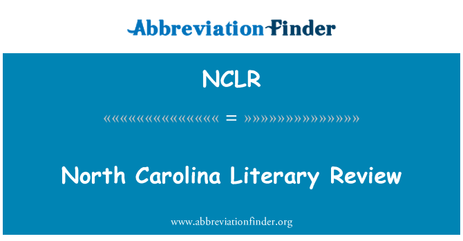 NCLR: North Carolina Literary Review