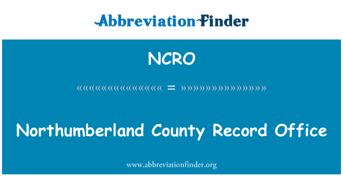 NCRO: Northumberland County Record Office