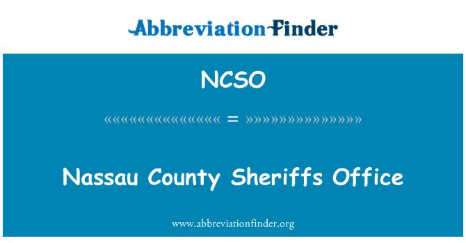 NCSO: Nassau County Sheriffs Office