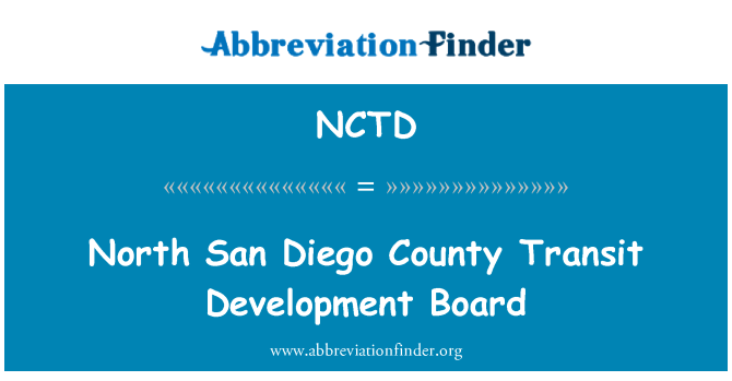 NCTD: North San Diego County Transit Development Board
