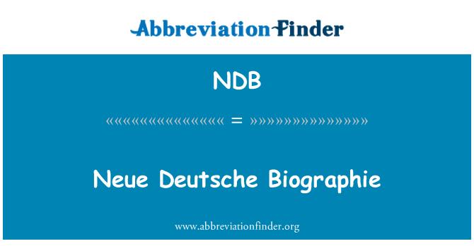 NDB: Neue Deutsche Biographie