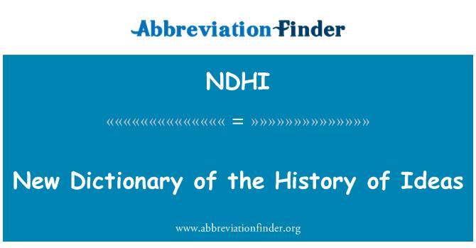 NDHI: Nuevo diccionario de la historia de las Ideas