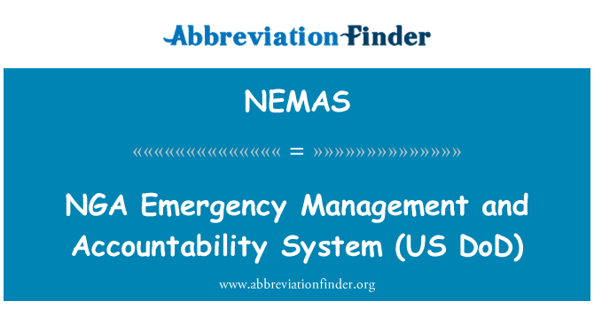 NEMAS: NGA   Emergency Management and Accountability System (US DoD)