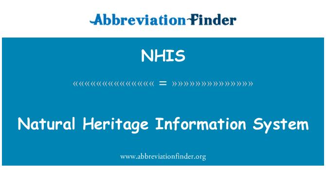 NHIS: Sistema de información de patrimonio natural