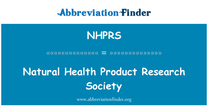NHPRS: Natural Health Product Research Society