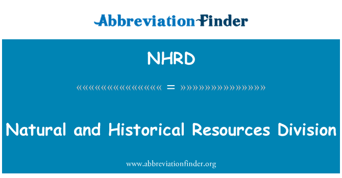 NHRD: Natural and Historical Resources Division