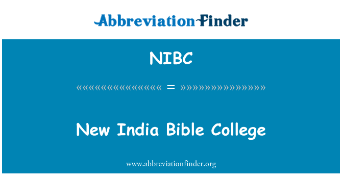 NIBC: New India Bible College