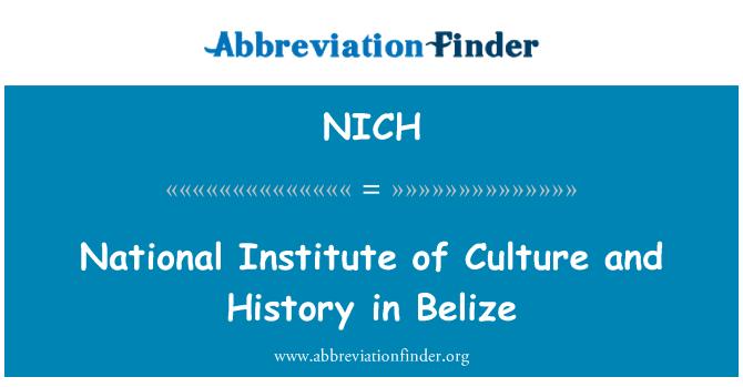 NICH: Instituto Nacional de cultura e historia en Belice