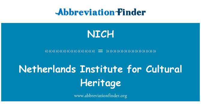 NICH: Instituto Holandés para el Patrimonio Cultural