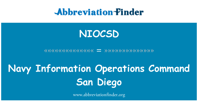 NIOCSD: Navy Information Operations Command San Diego
