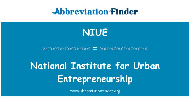 NIUE: Kentsel Girişimcilik Ulusal Enstitüsü