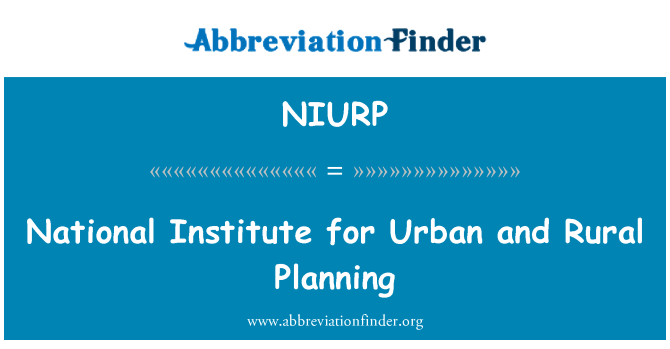 NIURP: National Institute for Urban and Rural Planning