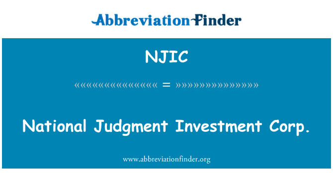 NJIC: National Judgment Investment Corp.