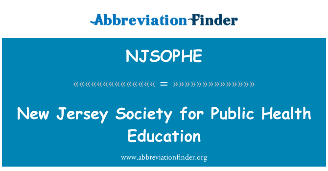 NJSOPHE: New Jersey Society for Public Health Education