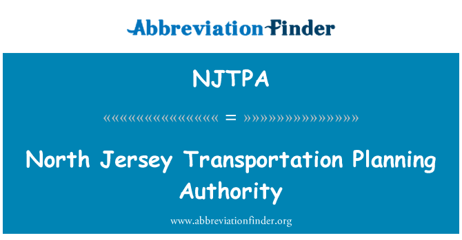 NJTPA: North Jersey Transportation Planning Authority