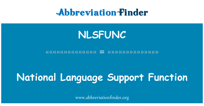NLSFUNC: National Language Support Function