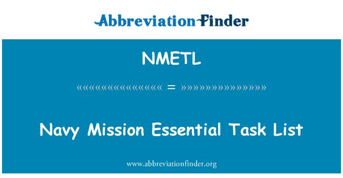 NMETL: Seznam námořní mise základních úloh