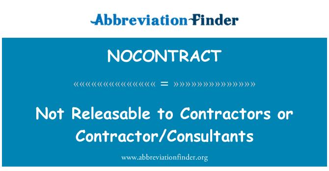 NOCONTRACT: Ne oslobođenog izvođačima ili izvođač/konzultanata