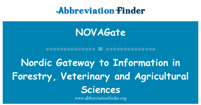NOVAGate: Nordic Gateway to Information in Forestry, Veterinary and Agricultural Sciences