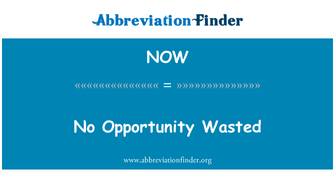NOW: No Opportunity Wasted