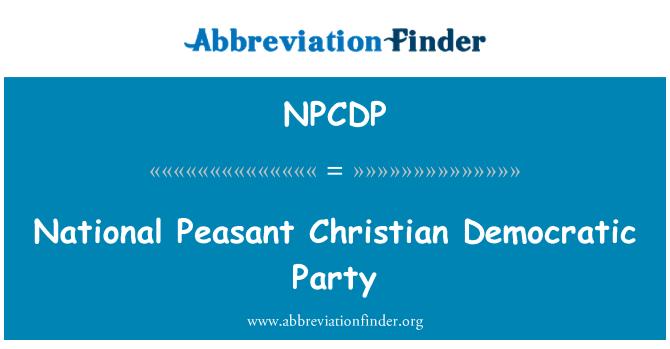 NPCDP: Nacionalna seljačka kršćansko-Demokratska stranka
