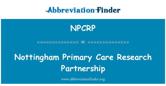 NPCRP: Nottingham Primary Care Research Partnership