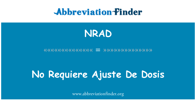 NRAD: Hiçbir öğreniminde Ajuste De dolum