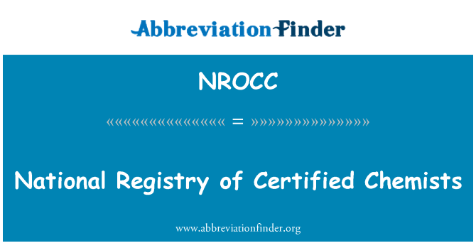 NROCC: National Registry of Certified Chemists