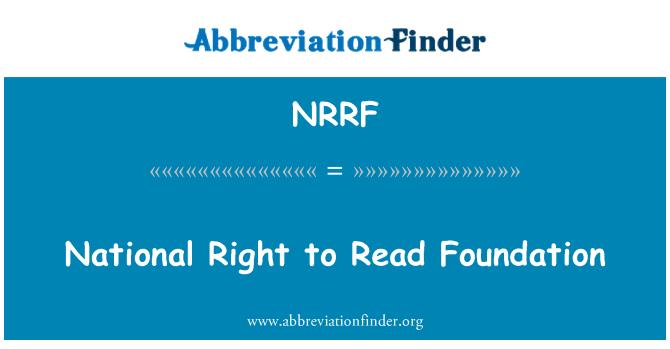 NRRF: Derecha nacional de leer la Fundación