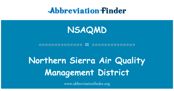NSAQMD: Northern Sierra Air Quality Management District