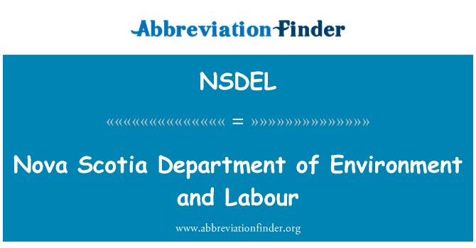 NSDEL: Nova Scotia Department of Environment and Labour