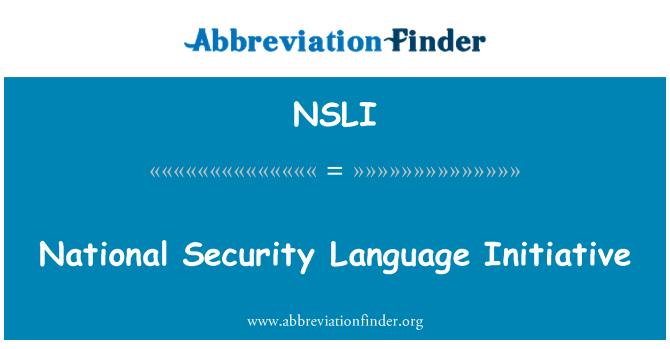 NSLI: National Security Language Initiative