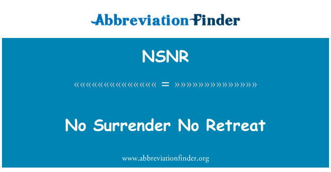 NSNR: No Surrender No Retreat