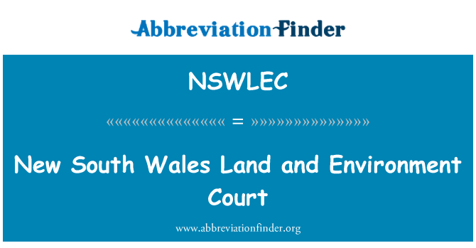 NSWLEC: New South Wales Land and Environment Court