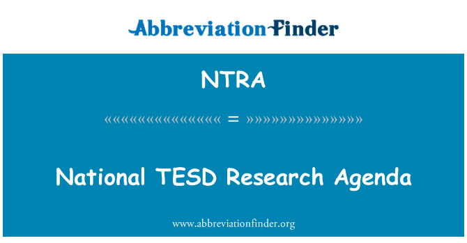 NTRA: National TESD Research Agenda