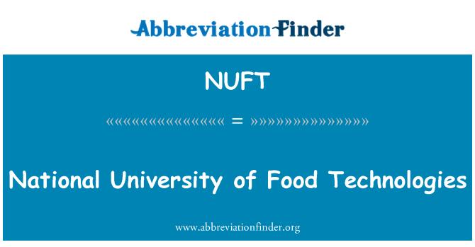 NUFT: National University of Food Technologies