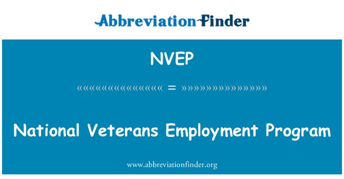 NVEP: National Veterans Employment Program