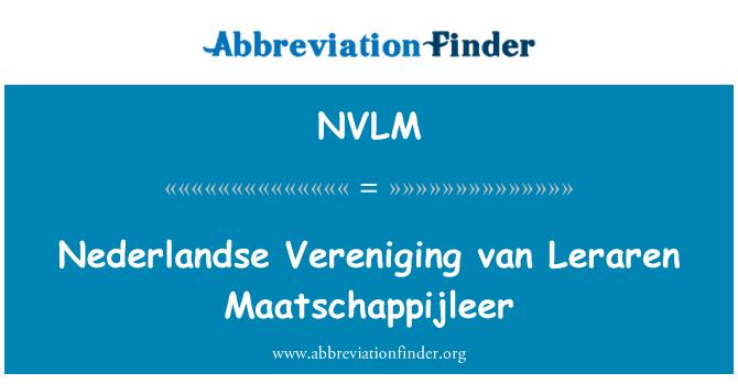 NVLM: Nederlandse Vereniging van Leraren Maatschappijleer