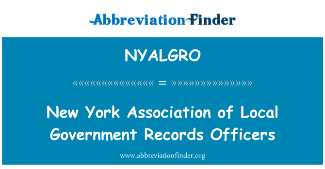 NYALGRO: New York Association of Local Government Records Officers