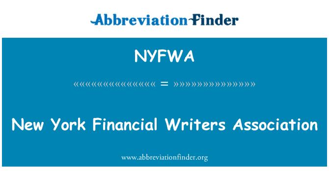 NYFWA: New York Financial Writers Association