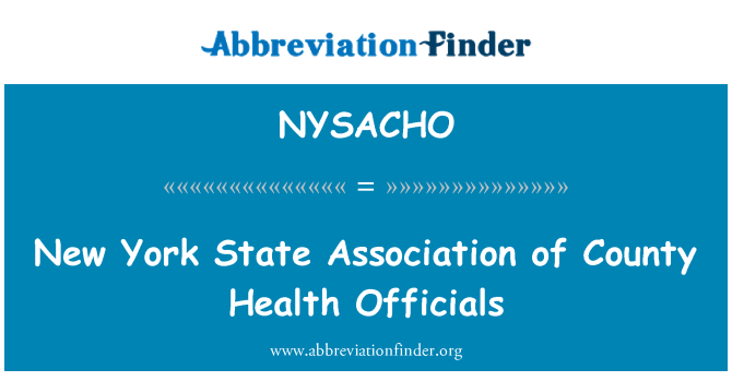 NYSACHO: New York State Association of County Health Officials