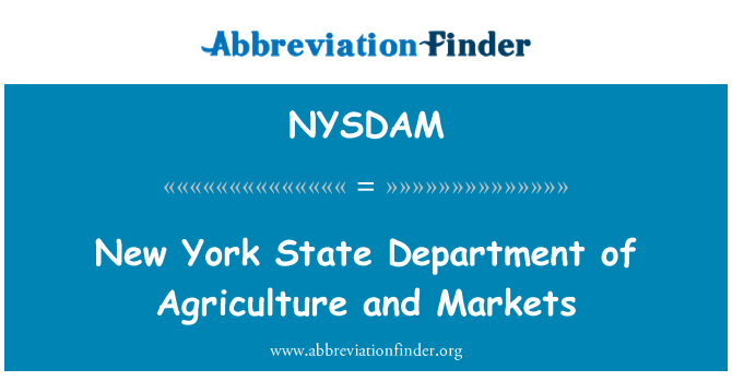 NYSDAM: New York State Department of Agriculture and Markets
