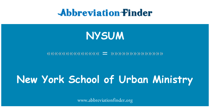 NYSUM: New York School of Urban Ministry