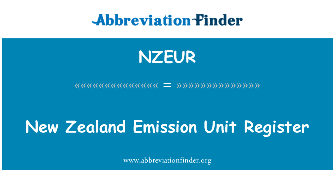 NZEUR: New Zealand Emission Unit Register