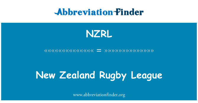 NZRL: New Zealand Rugby League
