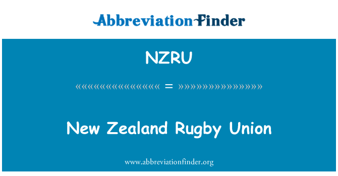 NZRU: New Zealand Rugby Union