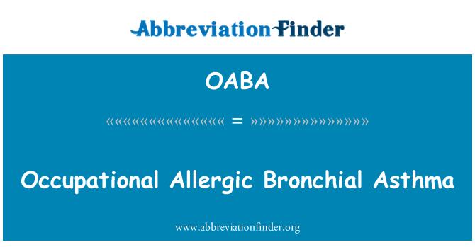 OABA: Asma bronquial alérgica ocupacional